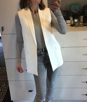 Weste Blazer Boyfriend Smoking Long Weste Revers Leinen weiß Creme Edel Mango Zara H&M