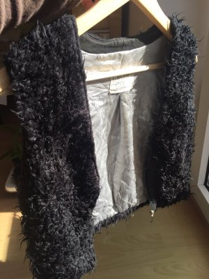 Cache & Cache Fur vest black-silver-colored
