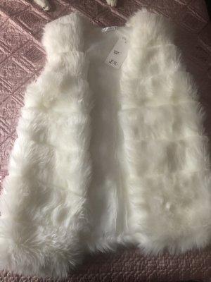 Kamizelka ze sztucznym futrem biały