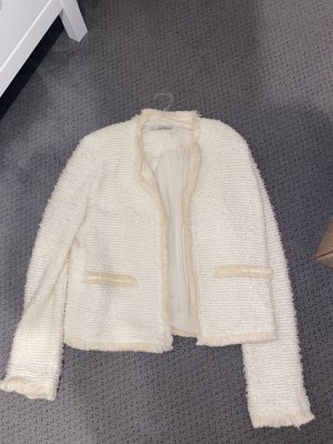 Mango Fringed Vest natural white