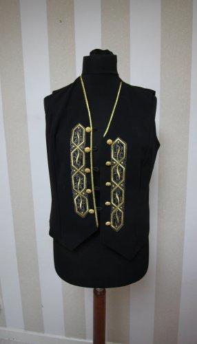 Chaleco de punto negro-color oro