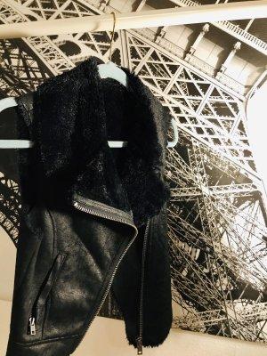 DKNY Jeans Chaleco de cuero negro