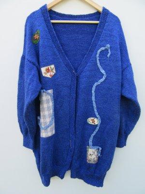 Weste Damen Strick oversize blau Tracht Vintage Retro Gr. L/XL
