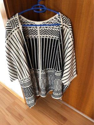 H&M Veste tricotée en grosses mailles noir-blanc cassé