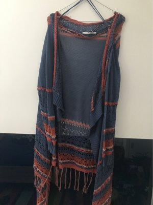 Only Fringed Vest blue-brick red