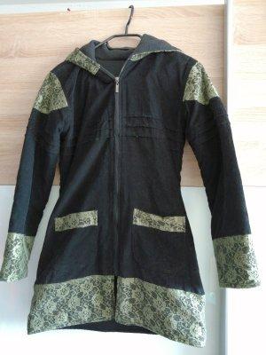 Fleece vest zwart-grasgroen