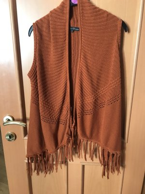 Tom Tailor Denim Fringed Vest dark orange