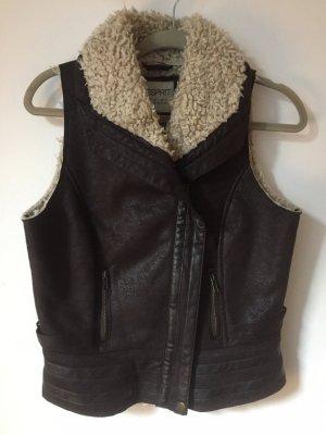 Esprit Fur vest black brown-natural white
