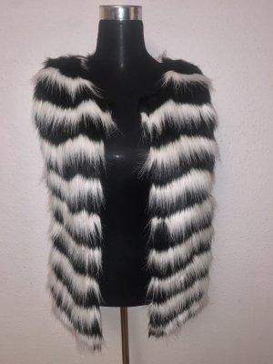 Kamizelka ze sztucznym futrem czarny-biały