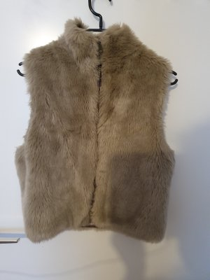 Barneys New York Fake Fur Vest grey brown