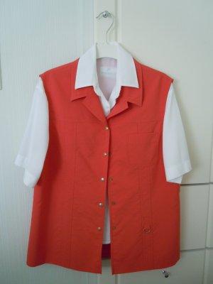 Frank Walder Gilet en jean rouge clair-blanc polyester