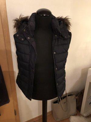 H&M Chaleco con capucha marrón-negro-azul oscuro