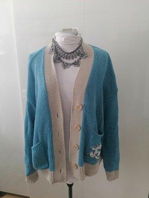 Twin set Knitted Cardigan white-cornflower blue