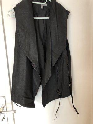 H&M Divided Gilet en cuir gris anthracite-noir
