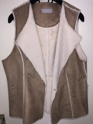 C&A Chaleco de piel blanco puro-marrón