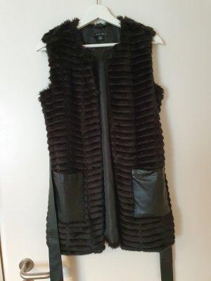 Amisu Futrzana kamizelka czarny Tkanina z mieszanych włókien