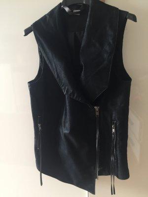 H&M Gilet en cuir noir