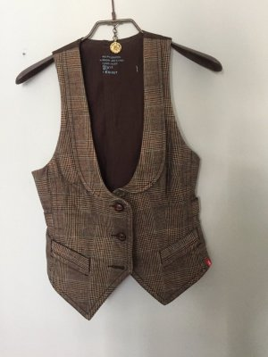 Edc Esprit Quilted Gilet brown-natural white