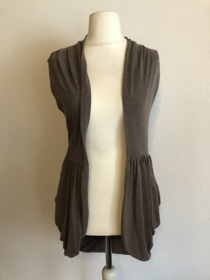 Long Knitted Vest light brown-taupe