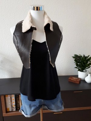 Broadway Leather Vest dark brown-natural white leather