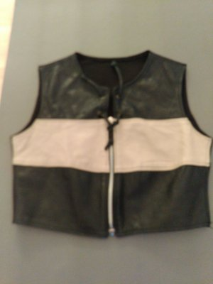 Leather Vest black-oatmeal