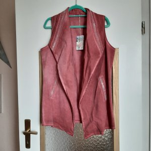 Made in Italy Gilet en jean rouge carmin