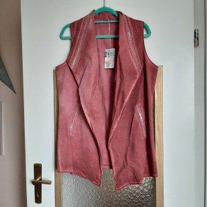 Made in Italy Gilet en jean rouge carmin