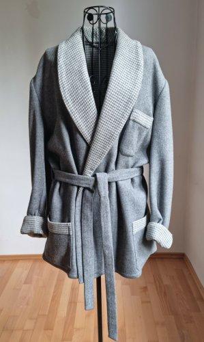 Gilet long tricoté gris-gris clair laine