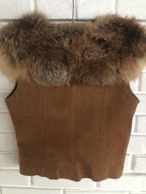 NoName Fur vest camel leather