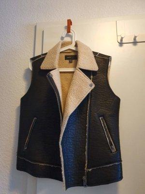 Mango Fur vest black-natural white