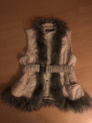 Fur vest cream-anthracite
