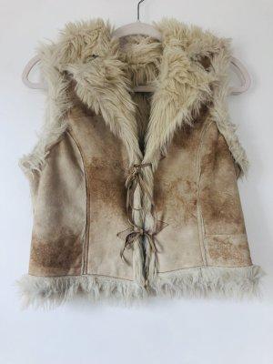 Fake Fur Vest natural white-beige