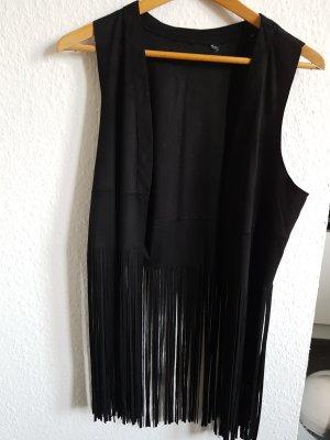 Unbekannter designer Veste à franges noir