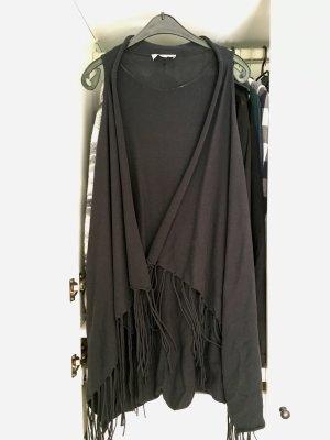Comma Veste à franges noir coton