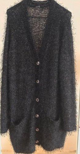 BODY FLIRT Długa dzianinowa kamizelka czarny-jasnoszary Poliester