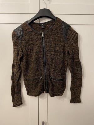 H&M Skórzana kamizelka czarny-brązowy