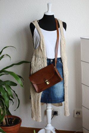 Only Gilet long tricoté brun sable