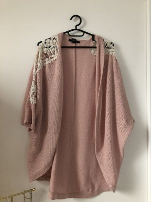 Forever 21 Cardigan all'uncinetto rosa-bianco sporco