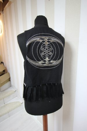 Knitted Vest black-silver-colored