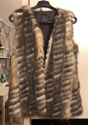 Primark Fake Fur Vest grey-beige