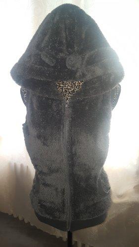 Chaleco con capucha gris oscuro