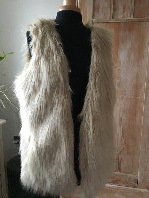 Open End Smanicato di pelliccia crema Poliestere