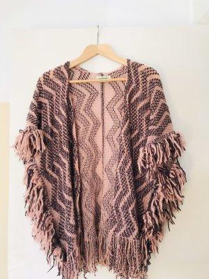 Smanicato lavorato a maglia rosa-marrone-viola