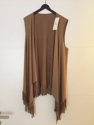 Veste à franges brun