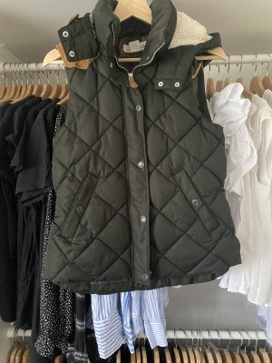 H&M Chaleco con capucha coñac-verde oscuro
