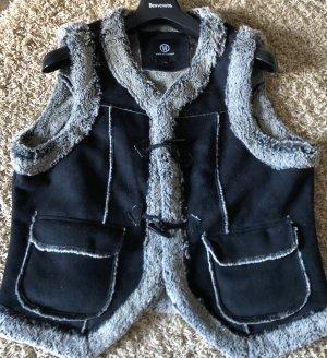 Wissmach Fake Fur Vest silver-colored-dark blue