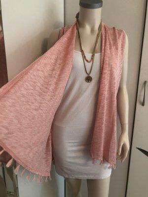 Gilet long tricoté rose clair polyester