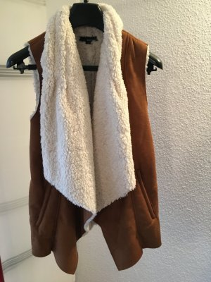 Tally Weijl Fake Fur Vest beige-white