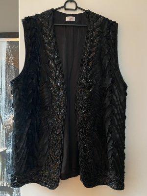 xxx Gilet long tricoté noir