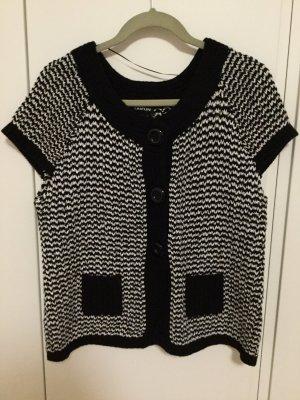 Taifun Short Sleeve Knitted Jacket black-white